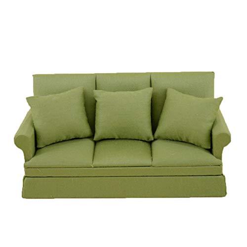 YiGo Scala di 1:12 Sveglio del Tessuto Tre Persone Divano Dollhouse con 3 Cuscini in Miniatura in Legno per mobili Couch Mestieri Handmade Forniture Le Scene Dollrooms Vita Decor (Verde)
