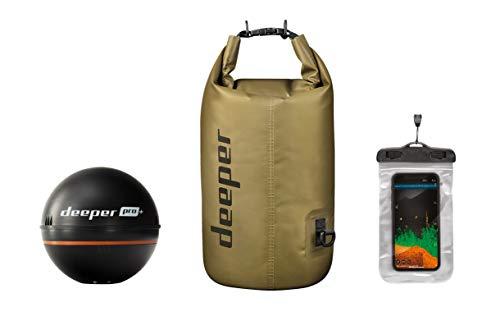 Deeper Summer Bundle Sonar Wi-Fi + GPS Fishfinder PRO+, ecoscandaglio portatile con borsa impermeabile galleggiante e custodia per telefono