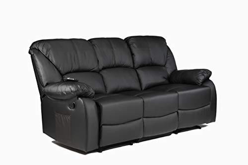 ECODE - Divano Letto a Tre posti, reclinabile con Massaggio a Onde Vibrante, Calore Lombare, Ecopelle ECO-8590/3 Nero