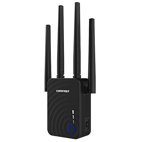 COMFAST WiFi Repetidor Amplicador,1200Mbps 2.4GHz/5.8GHz Doble Banda Mini WiFi Extensor de Red, Amplificador de Señal Wi-Fi Punto de Acceso Inalámbrico con 4 Antenas Ethernet