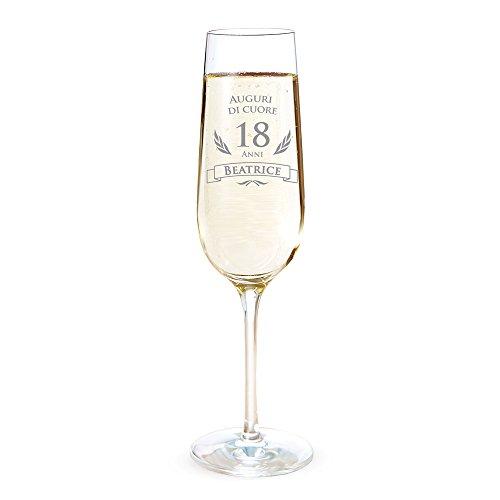 AMAVEL Flute con Incisione per i 18 Anni - Auguri di Cuore - Personalizzato con Nome - Bicchieri da Spumante in Vetro - Calici Champagne - Accessori Cucina - Idee Regalo Originali