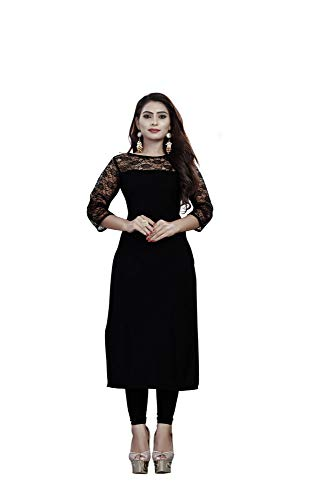 I-Brand American Crepe And Rasal Fabric Black Colour 3/4th Sleeve Kurti For Women & Girls (ISUNK871_M_Black)