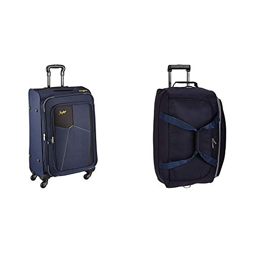 Skybags Footloose Rubik Polyester 680 mm Blue Softsided Check-in Luggage + Cardiff Polyester 63.5 cms Blue Travel Duffle (STRUW68EBLU + DFTCAR62BLU)
