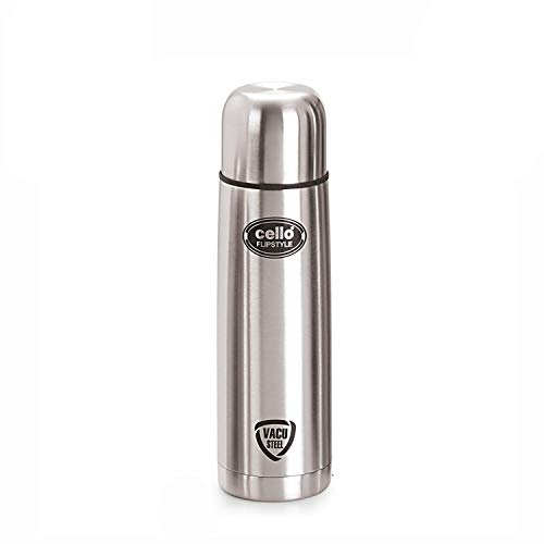 Cello Flip Style Stainless Steel Bottle with Thermal Jacket, 500ml, Silver