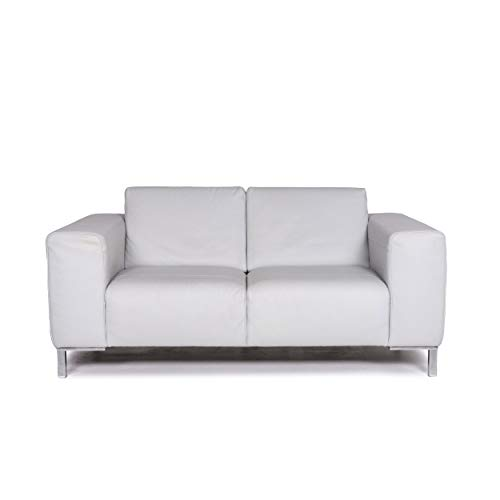Natuzzi leather sofa ice blue blue gray blue two-seater couch