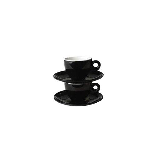 Gimex Quadrato - Set di 2 tazzine da caffè con piattino, Colore: Bianco e Nero
