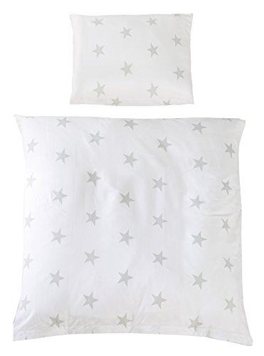 roba Wiegenbettwäsche 2-tlg, Wiegenset Kollektion 'Little Stars', Baby Bettwäsche 80x80 (Decke & Kissen), 100% Baumwolle