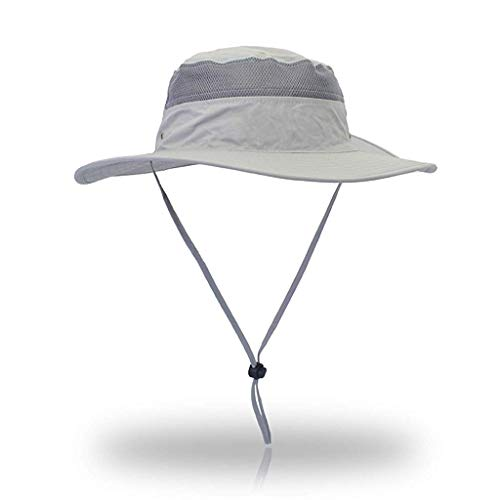 GUSTAVE® Windproof Fishing Hats UPF50+ UV Protection Sun Cap Outdoor Bucket Mesh Ha Light Grey