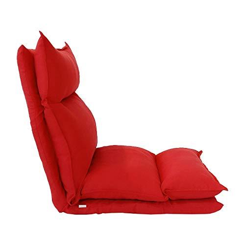 Rebecca Mobili RE6199 Seduta futon, Poltrona Yoga Rossa, Metallo e Pelle Scamosciata Morbida, Riposo Salotto Veranda, Similpelle, Rosso, 56x15x135 cm