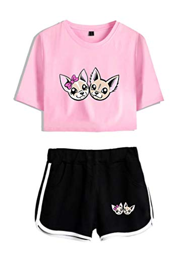 AMOMA Me Contro Te Crop - Top e Pantaloncini, da Donna, in Cotone Pink-Black-Two XS