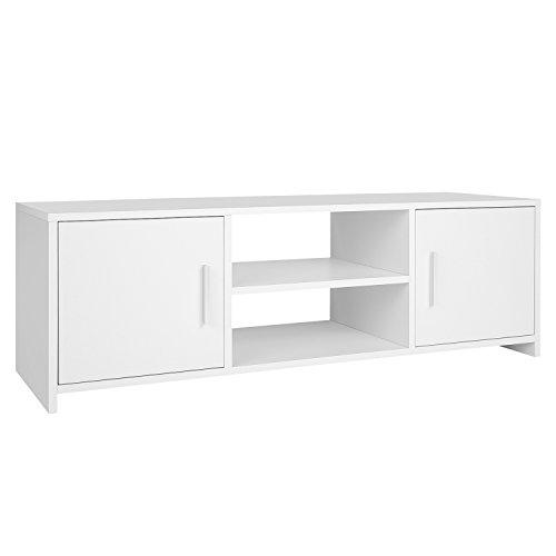 Homfa Mobile Porta TV Stand Supporto TV Armadietto in Legno 110x35x36cm (Bianco)