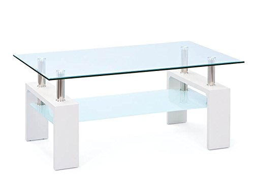 Links - London A4 - Tavolino. Dim: 100x60x45 h cm. Col: Bianco, Cromo, Trasparente. Mat: MDF,...