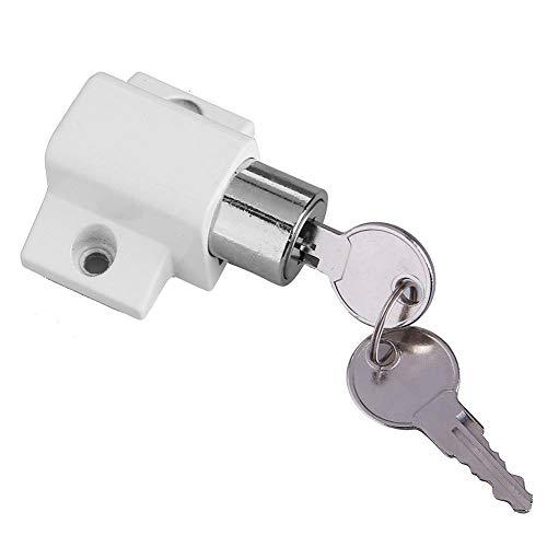 Vanpower Zinc Alloy Child Safety Sliding Window Restrictor Press Lock with 2 Keys White