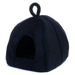 katzeninfo24.de Katzenhöhle Plüsch 40×40 schwarz