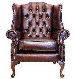 Designer Sofas4u Chesterfield Mallory Poltrona con Schienale Alto, Modello Queen Anne, Colore: Rosso Scuro