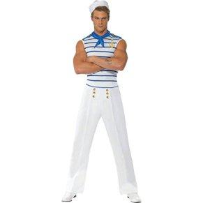 Smiffy's Smiffys-20886L Disfraz Fever de Marinero francés con Top, Pantalones y pañoleta de Cuello, Color Blanco, L-Tamaño 42