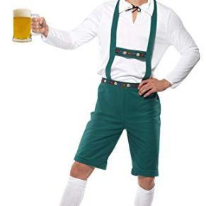 Smiffy's-39497L Disfraz de Fiesta de la Cerveza, Pantalones Lederhose con Tirantes, Top y Gorro, Color Verde, L-Tamaño 42