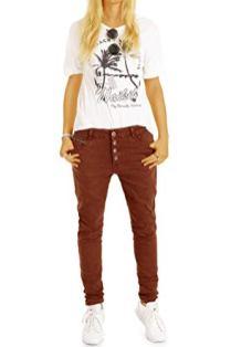 Bestyled-Damen-Jeans-Tapered-Baggy-Boyfriend-Hose-in-lockerer-Stretchfit-Passform-mit-Knopfleiste-j19g-2-34XS-Gruen