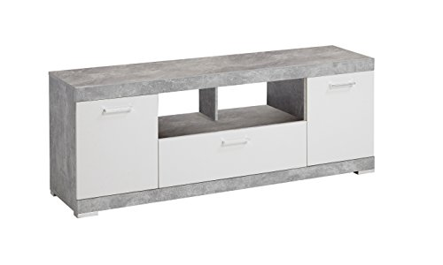 FMD möbel Sorrento H02 Mobile Tv, 160X41,8X59,5 H cm, Grigio, Bianco, Nobilitato