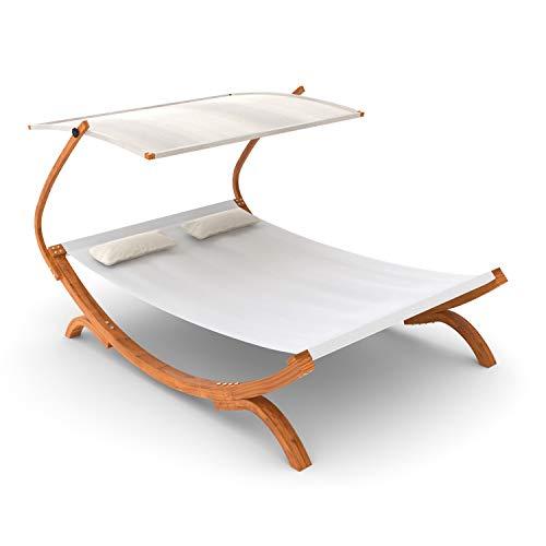 Ampel 24 50117 Doppel-Sonnenliege Panama mit Dach creme weiß, Gartenliege mit Holzgestell wetterfest, Sonnendach verstellbar, Doppelliege mit Kissen