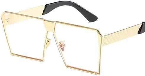 Yangjing-hl Modemarkendesigner Quadrat Flache Linse Sonnenbrille Spiegel Sonnenbrille Männer Hip Hop Übergroße Dame Brillen Männlichen FDA