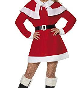Smiffys-24506M Disfraz de Forro Polar de Miss Santa, con Vestido, Capa, cinturón y Gorro, Color Rojo, M-EU Tamaño 40-42…