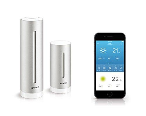 31MhPm4dj7L [Bon Plan Netatmo] Netatmo Station Météo Intérieur Extérieur Connectée Wifi pour Smartphone, Capteur Sans fil, Thermomètre, Hygromètre, Baromètre, Sonomètre, Qualité de l'air - Compatible avec Amazon Alexa, NWS01-EC