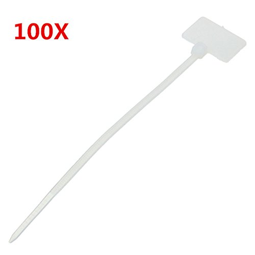 HITSAN INCORPORATION Set of 100 Nylon Zip Cable Tie Label Strap Strip with 1 Marking Tag (White, 3 X 100 mm)