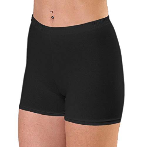 Alkato Damen Shorts Hotpants Blickdicht Stretch, Farbe: Schwarz, Größe: 38