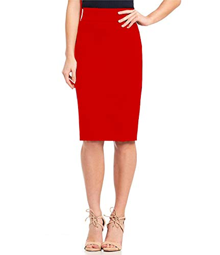 Stars and You Formal Pencil Skirt with Elastic Waist Band (36, Red)
