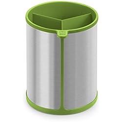 BRA Prior Bote Giratorio para Utensilios de Cocina Apto para el Contacto con los Alimentos, Acero INOX, Nailon y Silicona, Verde, 14.5 x 15 x 18 cm 6 Unidades