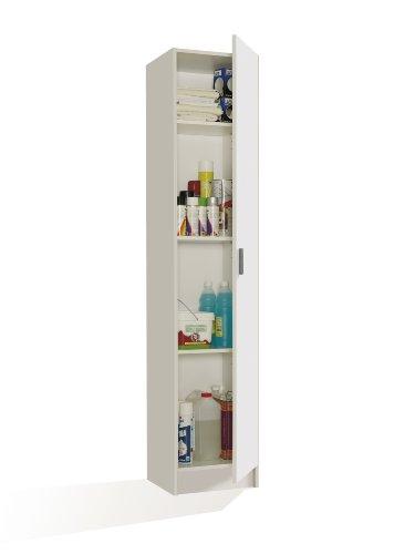 FORES - 007141O - Mueble armario multiusos 1 puerta, color Blanco, medidas: 182 x 37 x 37 cm de profundidad