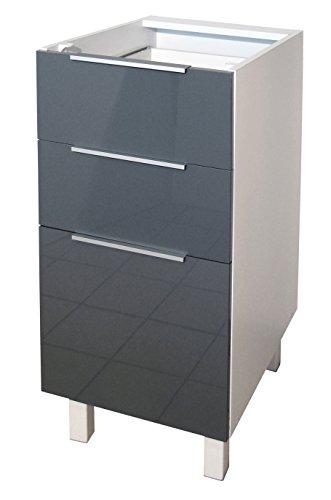 Berlenus CT4BG - Mobile da Cucina Basso, 3 cassetti, 40 cm, Colore: Grigio Lucido