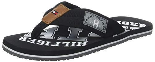 Tommy Hilfiger Herren Essential TH Beach Sandal Zehentrenner, Schwarz (Black 990), 44 EU