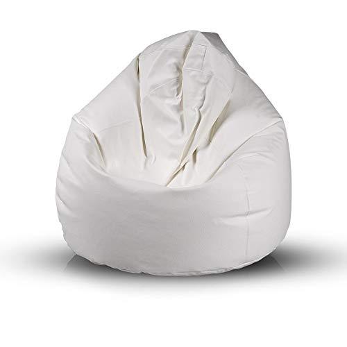 Bepouf Poltrona Sacco Puf Pouf Dimensioni 110x70 Ecopelle Pieno (Bianco, Media)