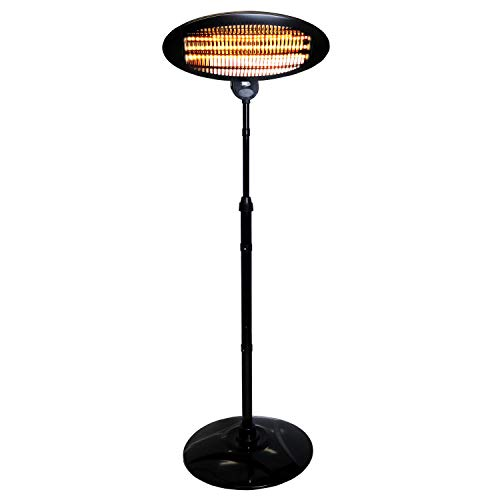 The Oypla Electrical 2KW Quartz Free Standing Outdoor Electric Garden Patio Heater is our favourite pick, 3 heat setting, easy to put together, not to heavy so can be easily moves into the shed or garage when not in use. Great value for money