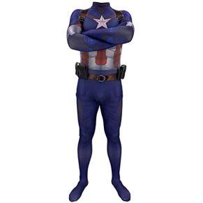 QWEASZER Disfraz de Disfraces básico Oficial de Capitán América - Traje de Cosplay Traje de Batalla Traje de Disfraces Traje de rol Jugar Ropa Body Traje de Spandex,Blue-140~150cm