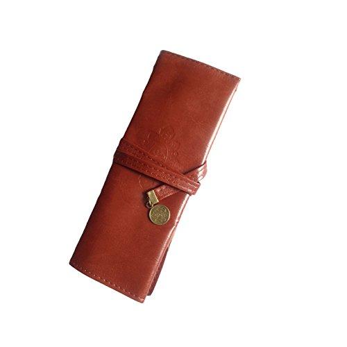 DDLBiz Astuccio, Vintage in pelle Rollup caso di matita, sacchetto della matita, penna tasca,...