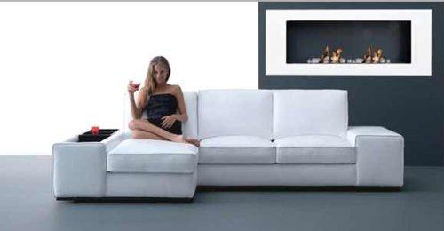 Ethanol & Gel Fuel Fireplace Fireside Model XXL Design + free 24 decorative stones (white)