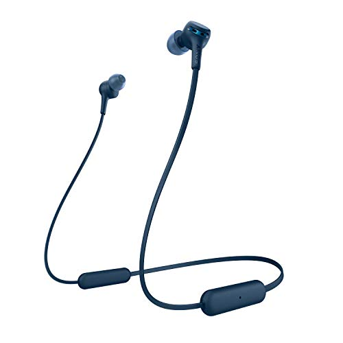 Sony WI-XB400 Wireless Bluetooth Extra Bass in-Ear Headphones with Mic, 15 Hours Battery Life, Quick Charge, Magnetic Earbuds, Tangle Free Cord and with 1 Year Warranty - Blue