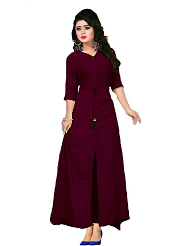 param mart Women's Cotton Long Sleeve V-neck Full Stitch A-Line Kurti (Maroon, Free Size)