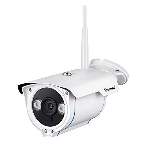 Sricam SP007-1080P Impermeabile Videosorveglianza Camera IP Telecamera Senza Fili WiFi, Visione Notturna, Filtro IR, Rilevamento del Movimento, Allarme Email, Supporto MicroSD, Bianca(Aggiornato)
