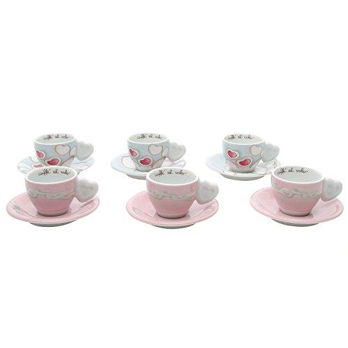 THUN Caffe' al Volo Confezione 6 tazzine Espresso Amore, Ceramica, Variopinto