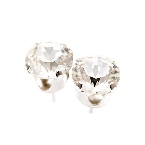 8e621bbeb pewterhooter 925 Sterling Silver stud earrings expertly made with sparkling diamond  white crystal from SWAROVSKI ...