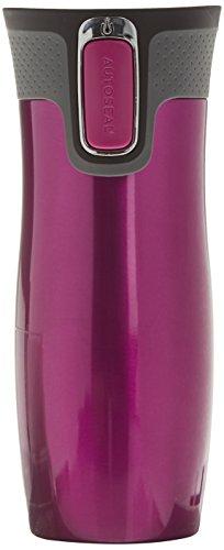 Contigo Thermobecher West Loop Autoseal, Edelstahl Isolierbecher, Kaffebecher to go, auslaufsicher, spülmaschinenfester Deckel BPA-frei, 470 ml , Berry , 470 ml