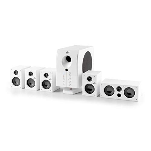 auna Areal 525 WH Heimkino - Impianto Stereo Home Theater, Surround Sound System 5.1, Subwoofer Attivo, 5 Casse Satelliti, Telecomando, 95 W RMS, Woofer 5,25' (13 cm), Bass Reflex, AUX, Color Bianco