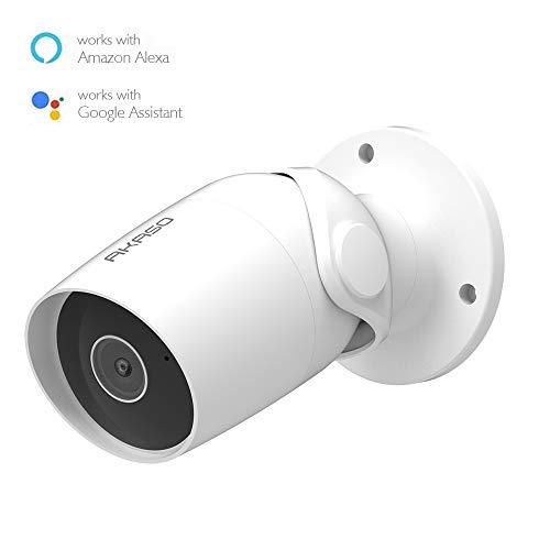 AKASO IP Telecamera di Sorveglianza 1080P WiFi Videocamera Lavora con Alexa, Google Home, IP65 Impermeabile, Audio Bidirezionale, Accesso Remoto, Rilevamento de Movimento, Archiviazione Scheda/Cloud