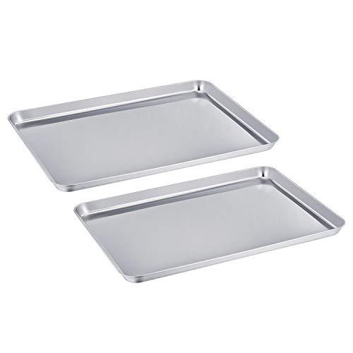 TeamFar - 2 Teglie da forno professionali in acciaio inox, ideali per biscotti, materiale atossico,...