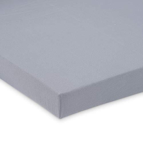 FabiMax 3665 Jersey Spannbettlaken für Beistellbett und Wiege, 90 x 55 cm, grau