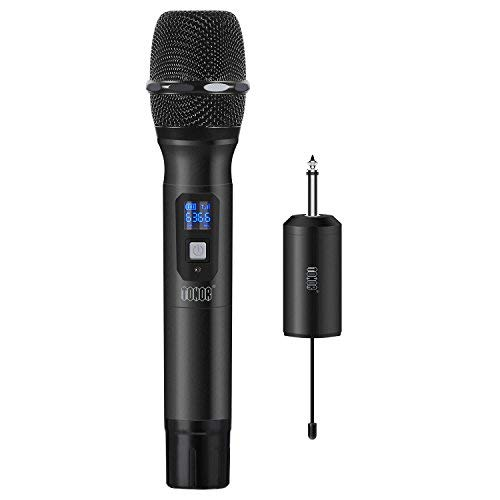 """TONOR Wireless Microphone Metal Handheld Mic UHF 25 Channel with Mini Receiver 1/4"""" Output for Stage/Church/Karaoke/Party/Business Meeting/PA Systems, Black"""
